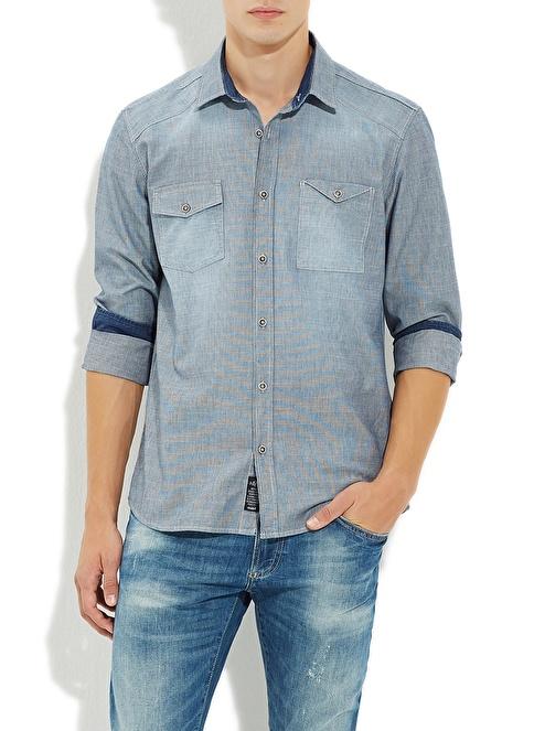 Mavi Gömlek | Yarı Dar Kalıp İndigo